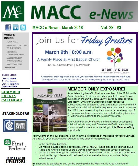 Monthly Newsletter  Mcminnville Area Chamber Of Commerce